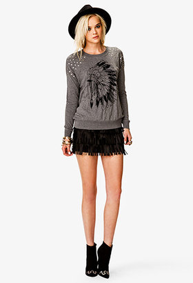 Forever 21 Studded Feather Graphic Sweater