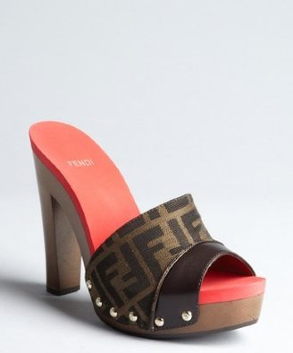 Fendi tobacco zucca canvas and leather studded colorblock sandals