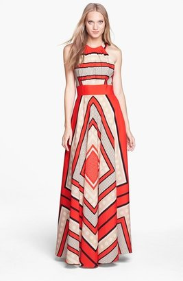 Petite Women's Eliza J Scarf Print Crepe De Chine Fit & Flare Maxi Dress $158 thestylecure.com