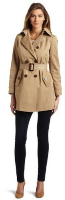 MICHAEL Michael Kors Women's Petite Double-Breasted Buckled Belt Trench Coat