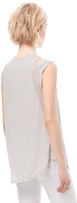 Rebecca Taylor Sleeveless Silk Knit Combo Top