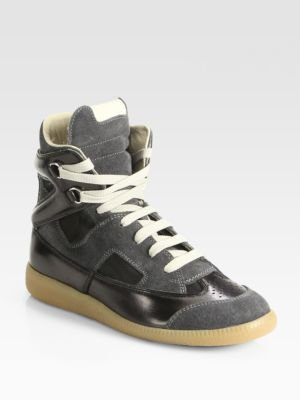 Maison Martin Margiela Cutout Suede & Leather High-Top Sneakers