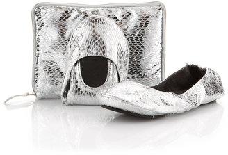 CitySlips Foldable Ballerina Flats, Silver