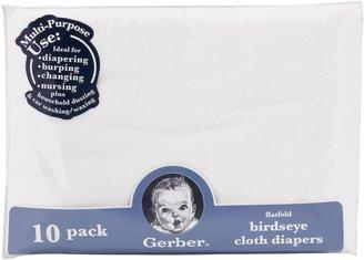 Gerber Birdseye Prefold Cloth Diaper - 3ply - White - 10 pk