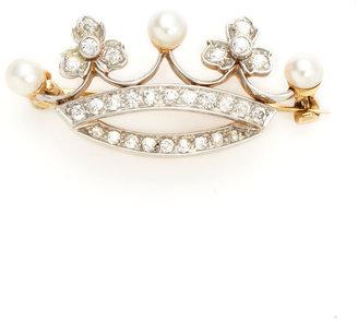 Tiffany & Co. Diamond & Pearl Crown Brooch