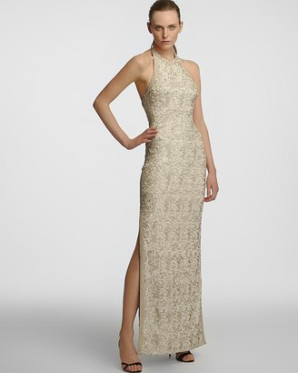 Halston Sequin Jersey Halter Gown - Sleeveless