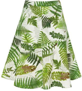 Clements Ribeiro Forest Fern Print Flip Skirt