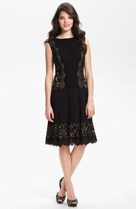 Tadashi Shoji Lace Paneled Drop Waist Dress
