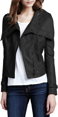 Neiman Marcus Cusp by Faux-Leather Shawl-Collar Jacket