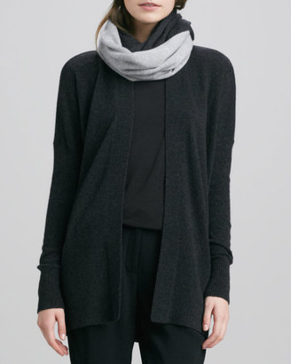 Vince Colorblock Loop Scarf, Light Gray/Charcoal