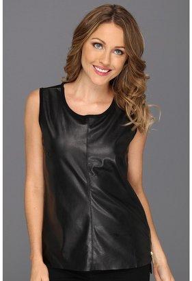Calvin Klein Faux Leather Zip Tank (Black) - Apparel