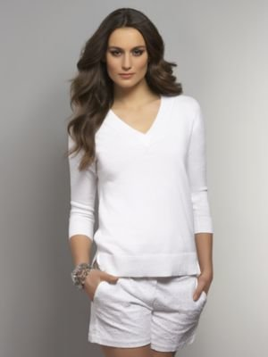 New York & Co. Three-Quarter Sleeve V-Neck Pullover Sweater