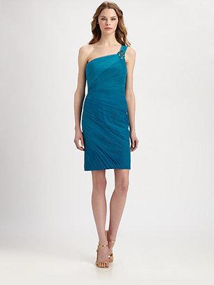Monique Lhuillier ML One-Shoulder Pleated Chiffon Dress