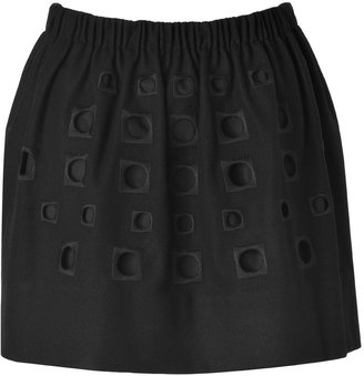 Tibi Black Embroidered Wool-Cashmere Skirt