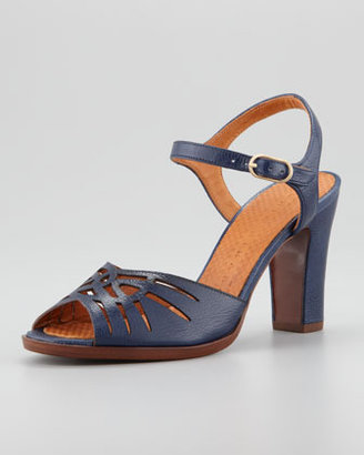 Chie Mihara Twisted Openwork Sandal, Navy