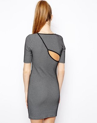 Asos Bodycon Dress In Texture With Cut Out