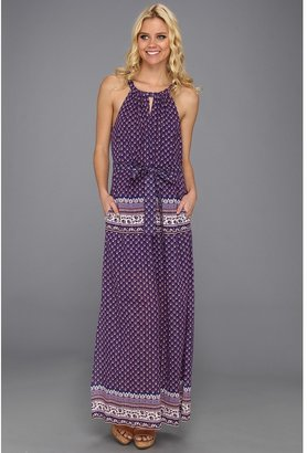 BCBGMAXAZRIA Mia Printed Maxi Dress (Dark Regal Combo) - Apparel