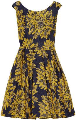 Alice + Olivia Pleated brocade dress