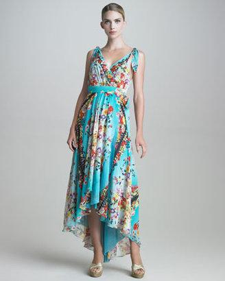 Fuzzi Silk Georgette Wrap Maxi Dress