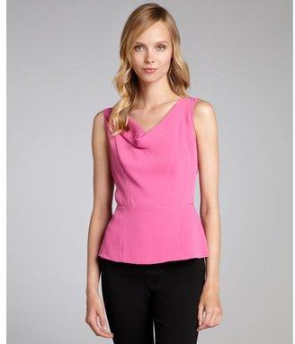 Tahari tutti frutti woven 'Lauren' drape neck peplum blouse