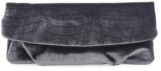 Elie Tahari Croc-velvet Trishela Clutch, Steel