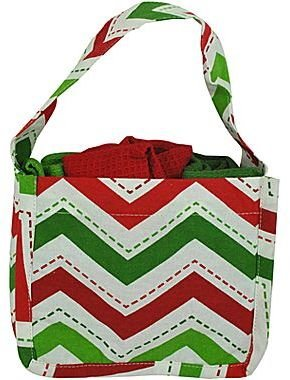 JCPenney Holiday Chevron Gift Tote with 3 Dish Towels