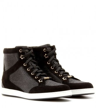 Jimmy Choo Tokyo suede and glitter high-tops