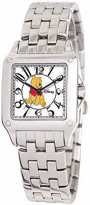 Disney Perfect Square Winnie the Pooh Womens Silver-Tone Watch Family