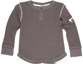 Appaman Kids - Long Sleeve Henley w/Contract Stitching (Toddler/Little Kids/Big Kids) (Vintage Black) - Apparel
