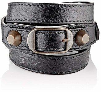 Balenciaga Women's Arena Leather Classic Double Tour Bracelet