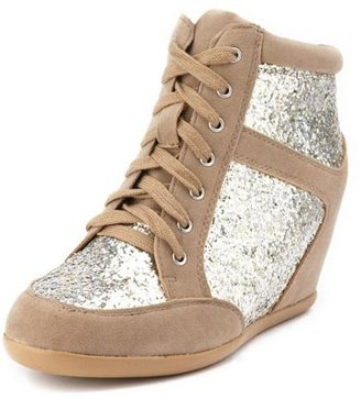 Charlotte Russe Glitter Lace-Up Wedge Sneaker
