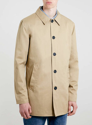 Topman Stone Single Breasted Trench Coat