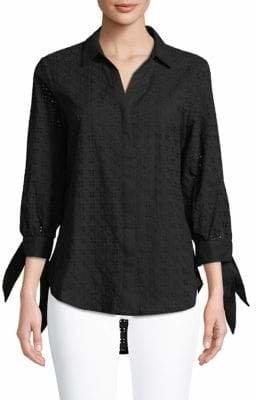 Isaac Mizrahi IMNYC Eyelet Cotton Button-Down Shirt