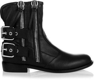 Giuseppe Zanotti Black leather zip biker boot