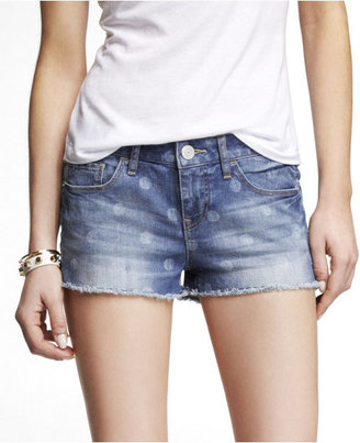 Express 2 Inch Faded Dot Cutoff Denim Shorts