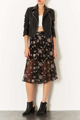 Topshop Black Floral Embroidered Skirt