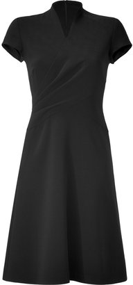 Ralph Lauren Black Double-Face Wool Crepe Dress