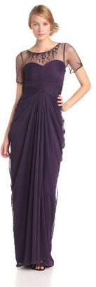 Adrianna Papell Women's Short Sleeve Necklace Draped Gown