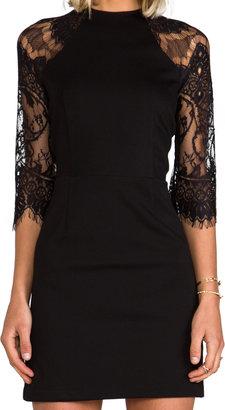 BB Dakota Princeton Ponte Dress w/ Lace Sleeves