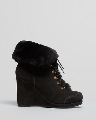 LK Bennett L.K.Bennett Cold Weather Platform Wedge Ankle Booties - Cecily Shearling Lace Up