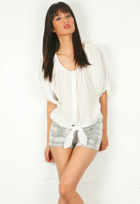 Singer22 Ramy Brook Emma Tie Front Shirt in White
