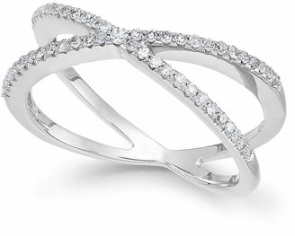 Wrapped Diamond Crossover Ring in 10k White Gold (1/4 ct. t.w.), Created for Macy's