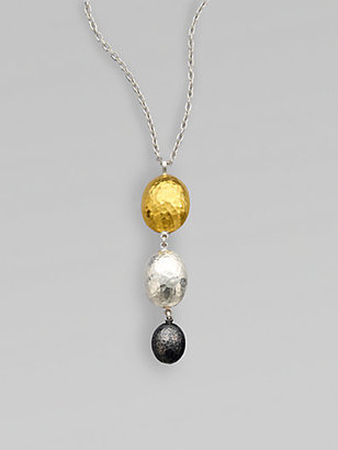 Gurhan 24K Yellow Gold & Two-Tone Sterling Silver Graduated Lentil Pendant Necklace