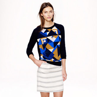 J.Crew Merino wool silk-panel sweater in cubist print