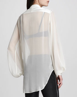 ADAM by Adam Lippes Poet-Sleeve Sheer-Striped Blouse, Ivory