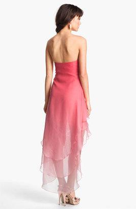 La Femme Ombré Strapless High/Low Chiffon Gown