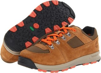 Timberland Kids - Earthkeepers GT Scramble Low Leather and Fabric (Little Kid) (Grey With Red) - Footwear