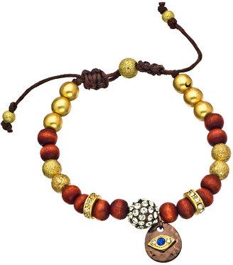 Blu Bijoux Burgundy and Gold Bead and Crystal Evil Eye Bracelet
