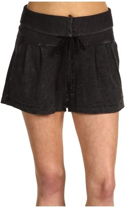 C&C California Mineral Wash Fold-Over Drawstring Short (Black) - Apparel
