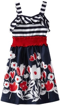 Rare Editions Girls 7-16 Stripe Border Print Dress